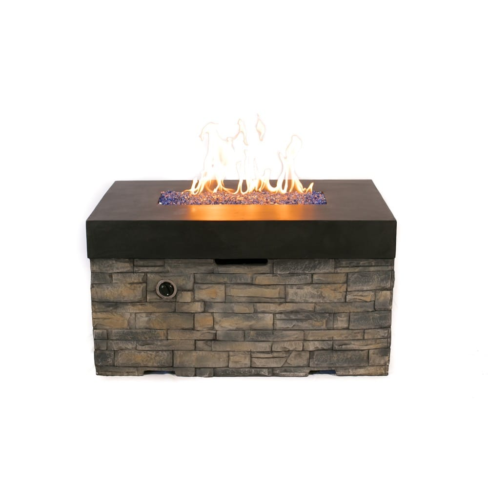 Cast World   Tretco Linear Stacked Stone Fire Pit Table #FP C 36x42 BK