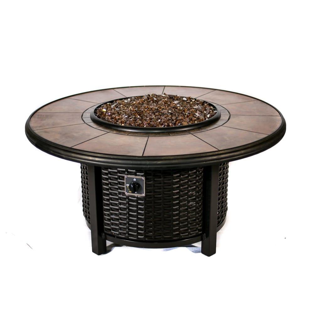 Tretco 43 Inch Round Wicker Fire Pit Table Fp W R 36 42rgrc